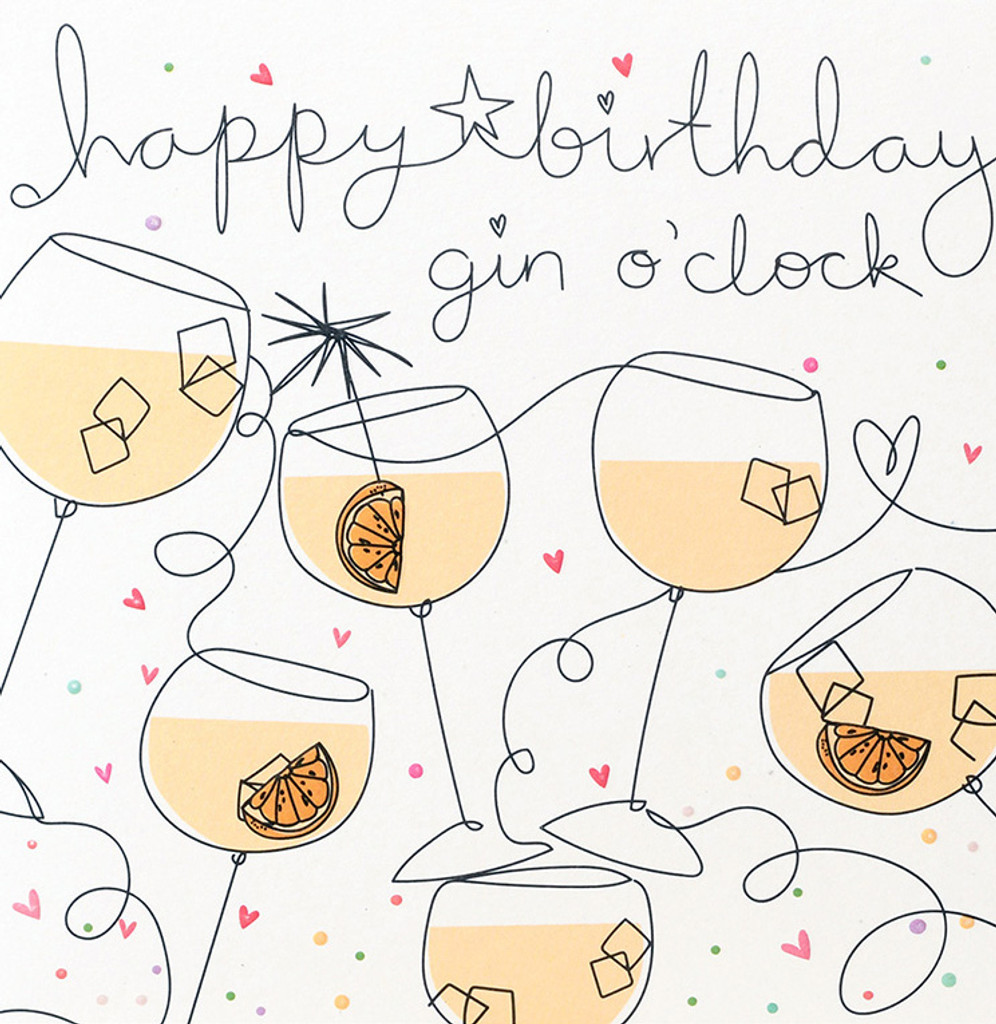 Gin O'Clock Greeting Card   Belly Button Design