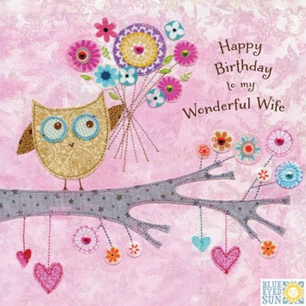 Wonderful Wife Greeting Card - Blue Eyed Sun