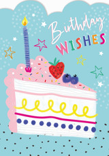 Birthday Wishes Cake Birthday Card - Laura Darrington