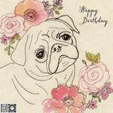 Happy Birthday Cute Pug Card - Blue Eyed Sun