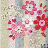 Happy Birthday Card Flowers - Blue Eyed Sun