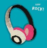 Sequin You Rock Headphones Birthday Card - Redback Cards