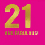 21 and Fabulous Birthday Card - Redback Cards