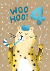 Woo Hoo Aged 4 Bear Birthday Card - Stormy Knight