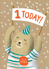 1 Today Bear Birthday Card - Stormy Knight