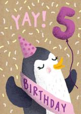 5 Today Bear Birthday Card - Stormy Knight