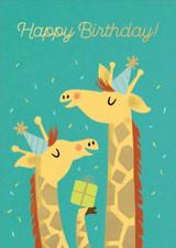 Giraffes Cute  Birthday Card - Stormy Knight