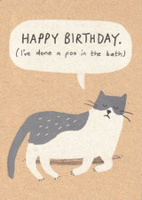 Poo in the Bath Cat  cheeky Birthday Card - Stormy Knight