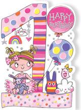 Pink Fairy aged 1 Children's Birthday Card - Rachel Ellen