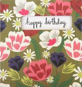 Retro Flowers Greeting Card - Caroline Gardner