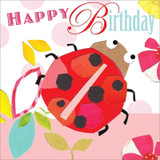 Ladybird Birthday Card - Black Olive