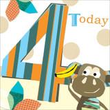 Aged 4 Monkey Birthday Card - Black Olive