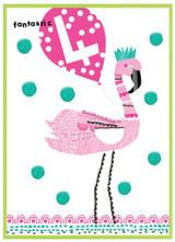 Fantastic 4 Flamingo Birthday Card - Cinnamon Aitch