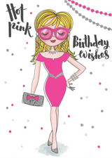 Hot Pink Birthday Wishes Birthday Card - Rachel Ellen