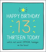 Thirteen Today Official Teenager Birthday Card Happy Jackson - Pigment Productions