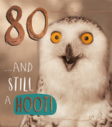 80 and still a hoot Birthday Card - Pigment Productions