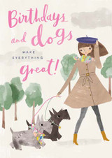 Birthdays & Dogs make everything great  Birthday Card - Pigment Productions