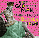 First God Created Man Birthday Card - Pigment Productions