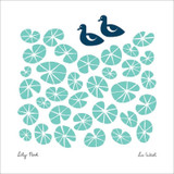 Lily Pond Blank Greeting Card by Lu West - Black Olive