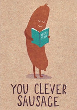 Clever Sausage Exam Congratulation Greeting Card - Stormy Knight