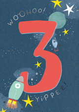 Aged 3 Yippee Rocket Birthday Card - Pigment Productions