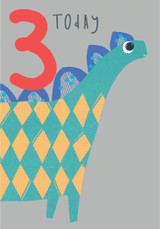 3 Today Dinosaur Childrens Birthday Card - Pigment Productions