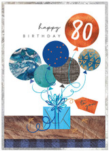 80th Birthday Card with Balloons for Male - Cinnamon Aitch
