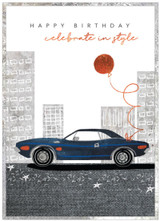 Celebrate in Style Birthday Card with Car  for Male - Cinnamon Aitch