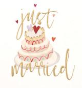 Just Married Wedding Cake Greeting Card - Caroline Gardner