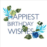 Happiest Birthday Wishes Floral Birthday Card - Black Olive