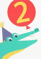 Alligator Aged 2 Kids Birthday Card - Caroline Gardner