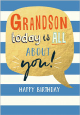 Grandson today is all about you!  Birthday Card - Abacus Cards