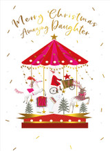 Merry Christmas Amazing Daughter Christmas Card - Real & Exciting Designs