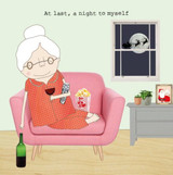 A Night to Myself Funny Christmas Card - Rosie Made a Thing