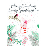 Merry Christmas Lovely Granddaughter  Christmas Card - Belly Button