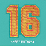16th Birthday Sequin Card - Redback Cards
