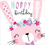 Hoppy Bunny Childrens Birthday Card - Black Olive