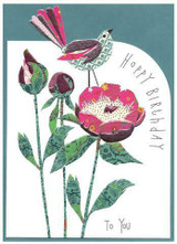 Patchwork Bird and Rose | Greeting Card