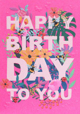 Happy Birthday Floral Contemporary Greeting Card | Belly Button Design