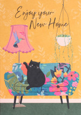 New Home Black Cat Contemporary Greeting Card | Belly Button Design