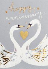 Happy Anniversary Swans Greeting Card - Louise Tiler