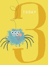 Speedy Spider Aged 3 Tiddly Widdlies Greeting Card - Kali Stileman