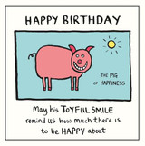 Edward Monkton The Pig of Happiness Greeting Card - Pigment Productions