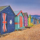 Beach Huts Greeting Card | Icon Art