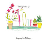 Hand Finished 40th Floral Birthday Card | Laura Sherratt