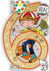 Age 6 Skateboard Birthday Cards Kids - Rachel Ellen