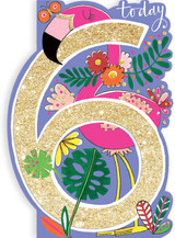 Age 6 Flamingo Birthday Cards Kids - Rachel Ellen