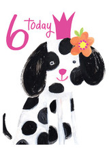 Spotty Dog Age 6 Greeting Card | Paper Salad