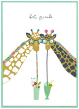 Best friends Giraffe Birthday Greeting Card   Cinnamon Aitch