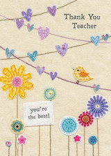 Thank You Teacher Greeting Card - Blue Eyed Sun